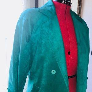 Jackets & Blazers - Emerald Green vintage suede trench coat